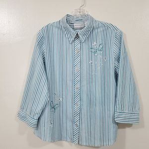 Alfred Dunner Petite Stripes Blue 3/4 Sleeve 14P